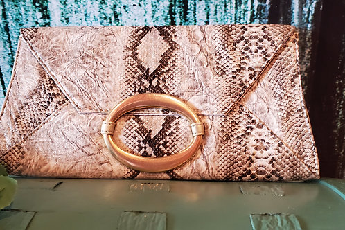 Snake Print Leather Small Clutch