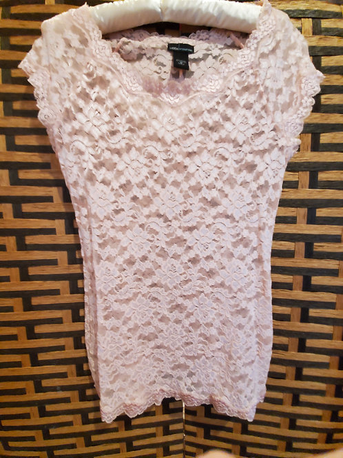 Light Pink Pure Lace Short Sleeve Blouse