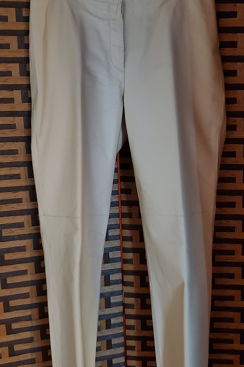 Pale Yellow Genuine Leather Pants