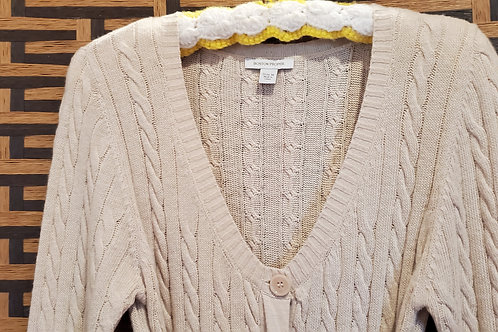 Boston Proper Beige Sweater with Silk Belt / Size Medium