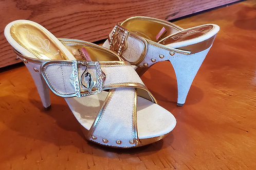 Baby Phat Slip On 5 Inch High Heels with Bling / Size  7 1/2