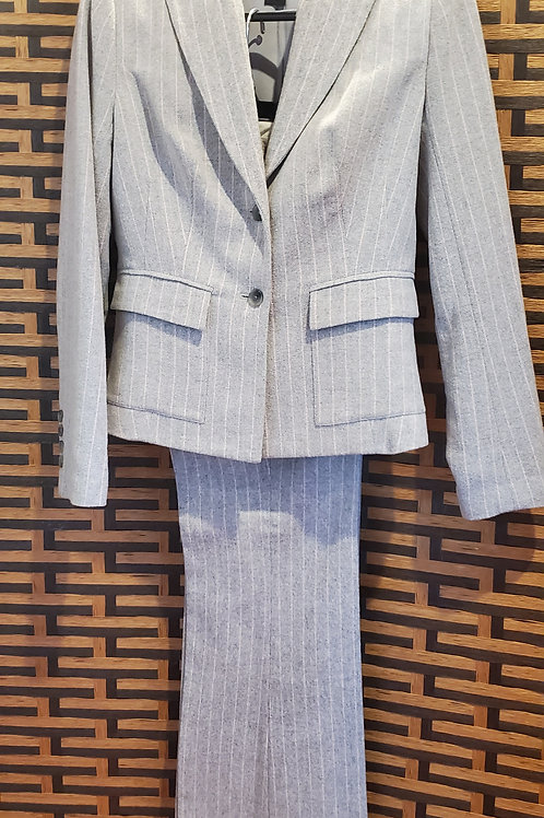 Grey Wool Pink Pinstripe Pants Suit