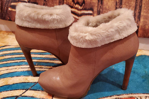 GUESS Tan Leather with Fur 5 Inch High Heel Boots / Size 8 Medium