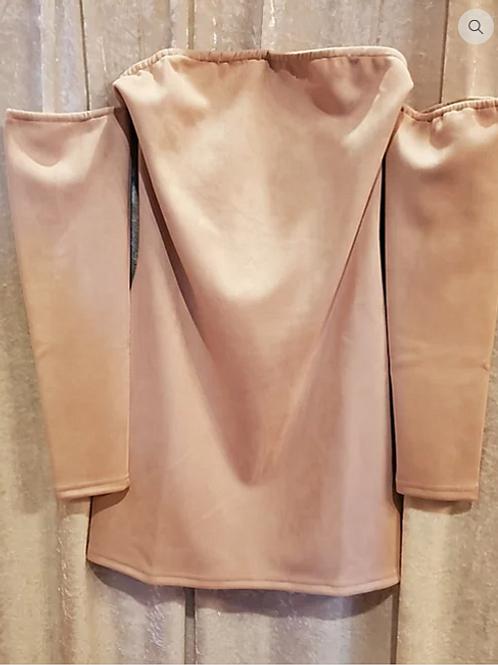 Blush Pink Suede Off Shoulder Dress.
