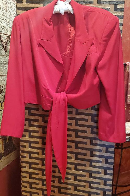 Short Red Belted Jacket