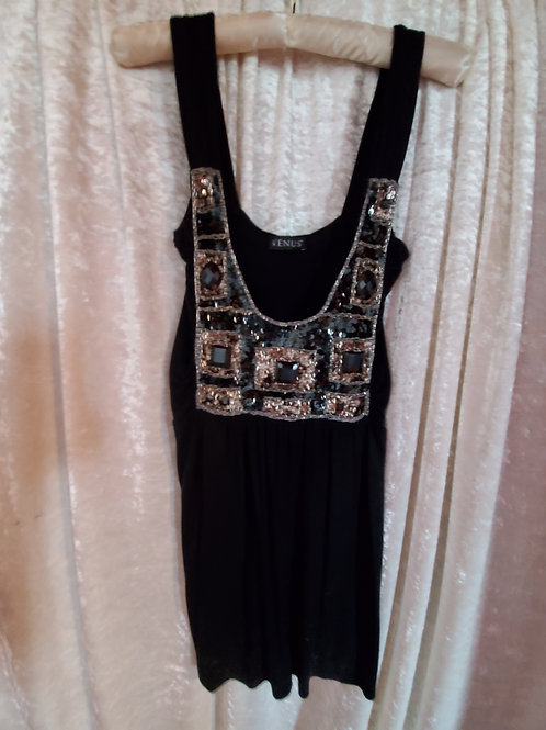 Black Top with Stunning Jeweled Front