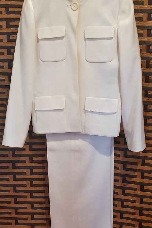Wool Ivory Pant Suit with Wide Pants