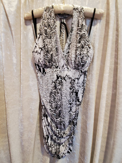 Sneak Print Glitter with Silver Chain in Back Blouse