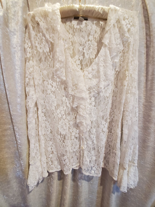 White Pure Lace Long Sleeve Ruffle Blouse