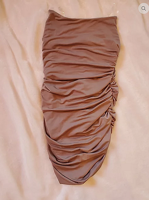 A little beige ruched dress