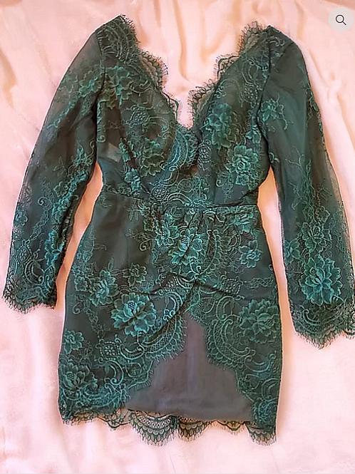 Hunter Green Lace Dress