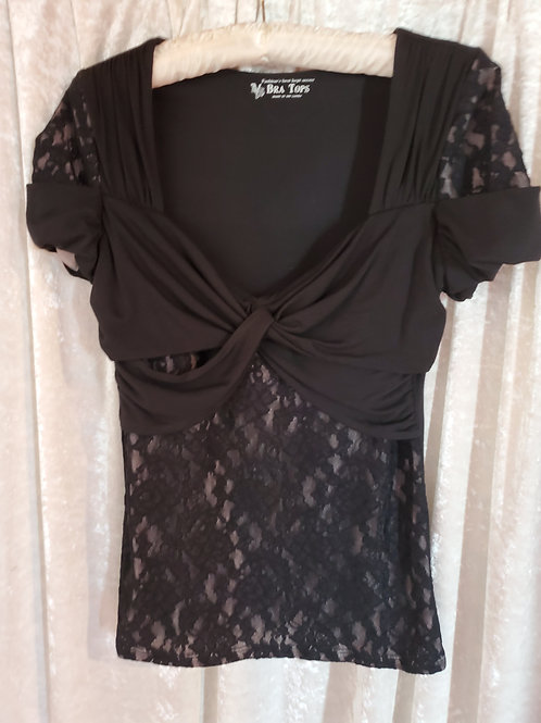 Black Lace Blouse with Sweetheart Neck