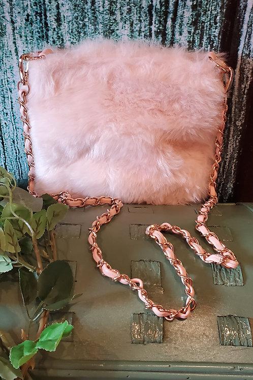 Pink Fur Small Cross Body Bag