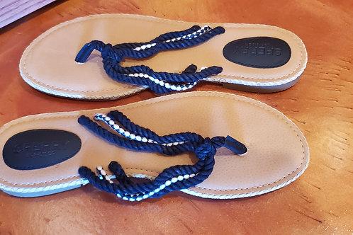 Sperry Jamaican Black & White Roped Sandals / Size 7 Medium