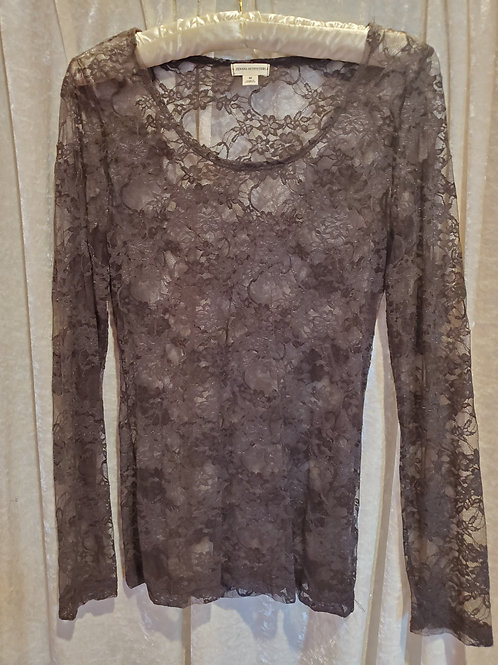 Grey Lace Long Sleeve Blouse