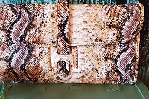 Snake Print Leather Cross Body Bag