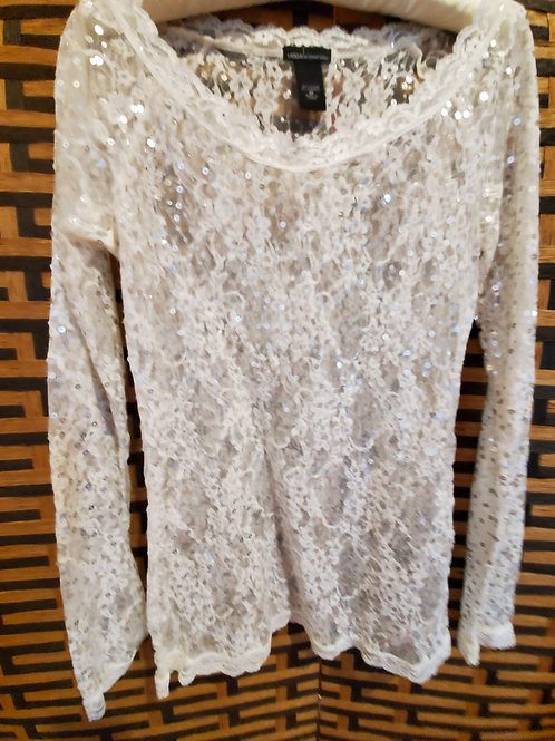 Gorgeous Glittery Pure Lace Long Sleeve Blouse