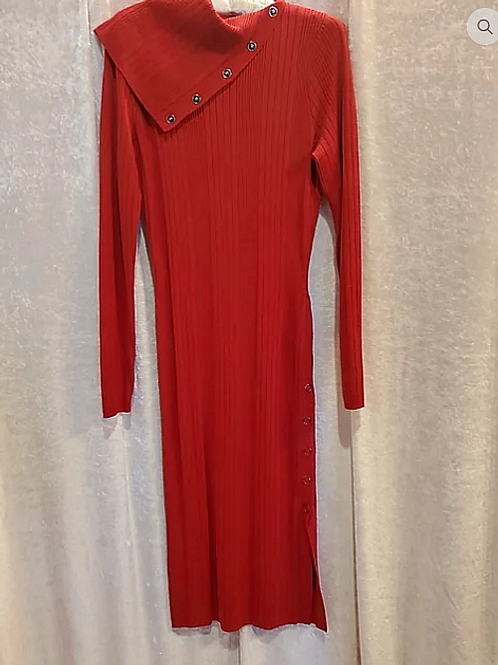Button Red Knit Dress.