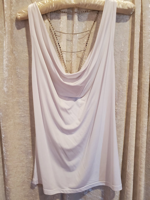 White Cowl Chain Top