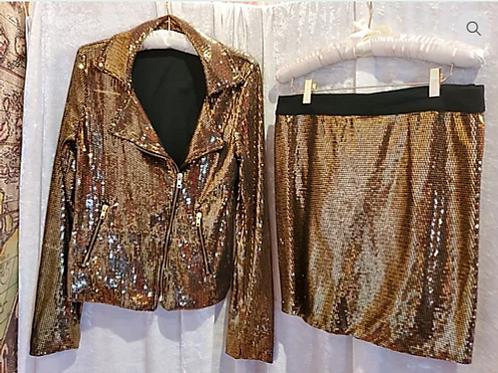 2 piece Glitter skirt suit. Motorcycle Jacket & Mini Skirt
