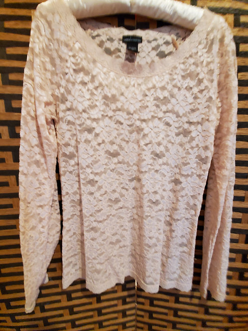 Light Pink Pure Lace Long Sleeve Blouse
