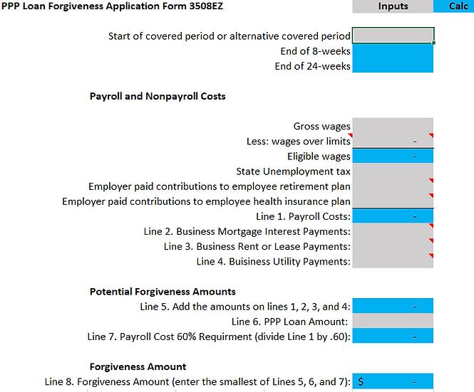 PPP Loan Forgiveness Application Form 3508EZ Calculator