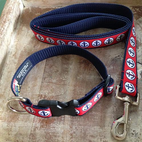 Navy Anchor Dog Collar