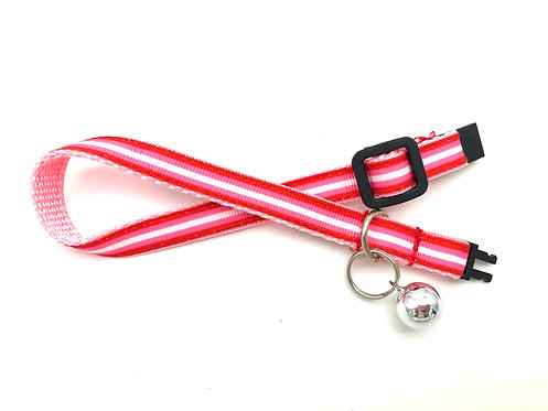 Pink & Red Stripe Cat Collar