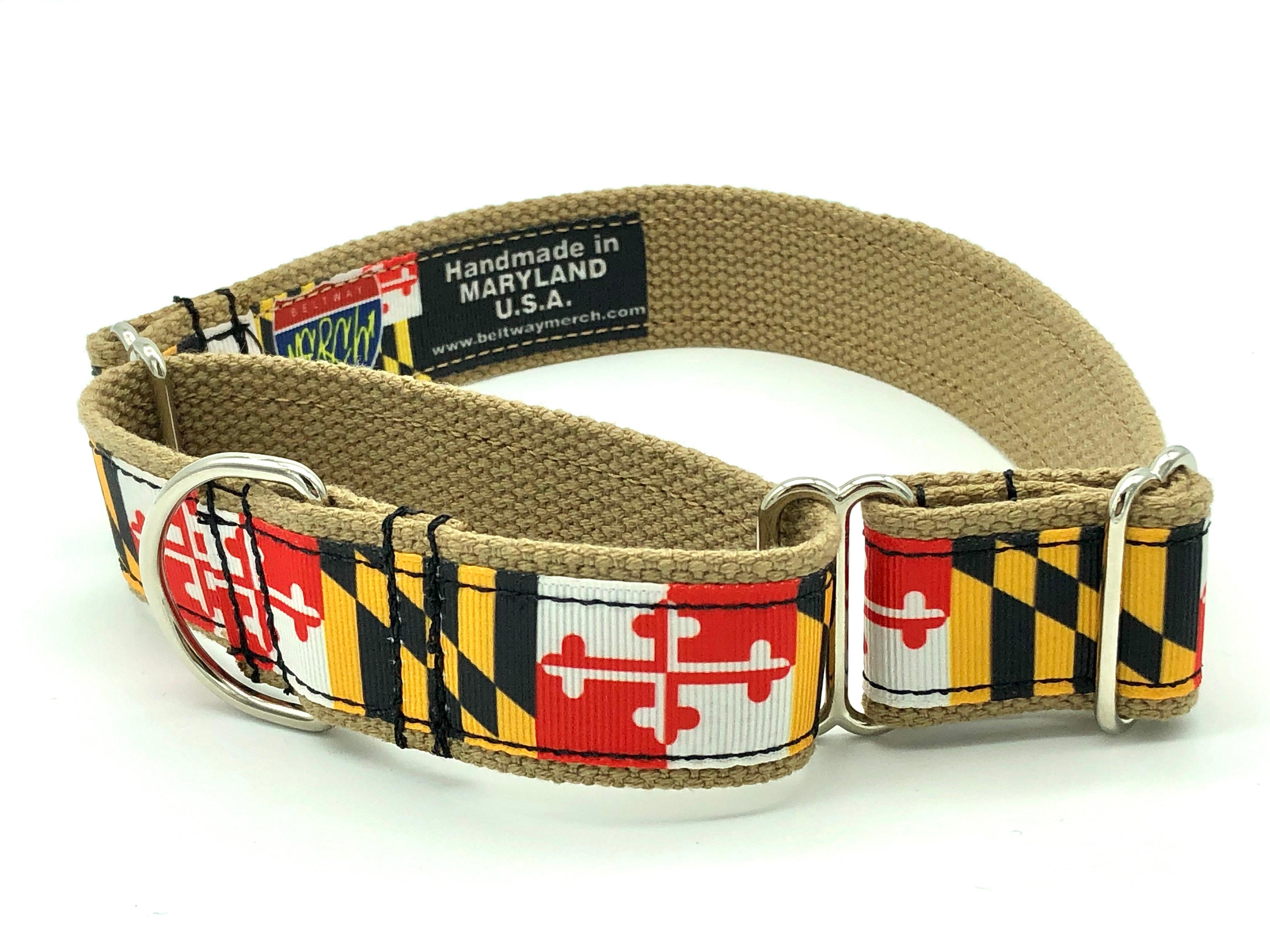 Maryland Flag Dog Collar  Maryland Flag Collar  University of Maryland  Maryland Pride  SmMed-MedLarge  1 inch wide  Matching Leash