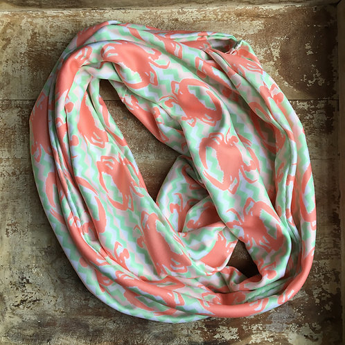 Pink Crab Chevron Infinity Scarf