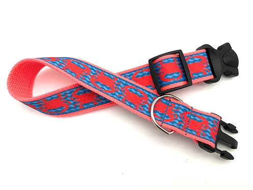 1 1/4 inch Coral Crab Wave Dog Collar or Leash