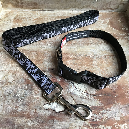 Gray Maryland Flag Dog Collar & Leash