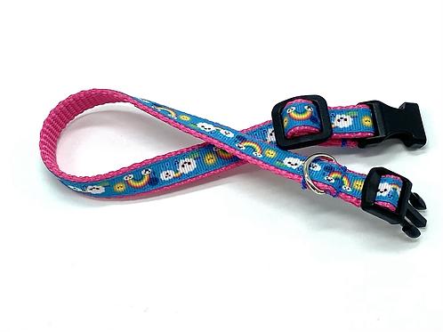 1/2 inch Rainbow Clouds Dog Collar or Leash