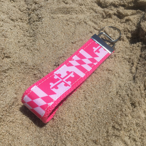 Hot Pink Maryland Flag Key Chain