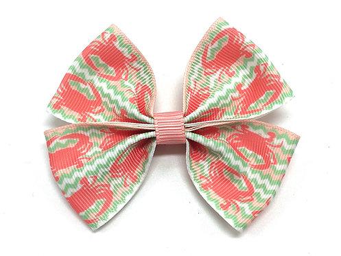 Pink Crab Chevron Dog Bow Tie