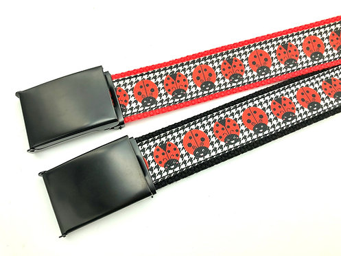 kawaii ladybugs houndstooth belt