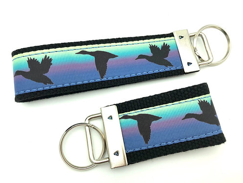 Teal Duck Sunset Key Chain
