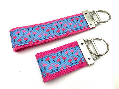 Pink Flamingo Grid Key Chain