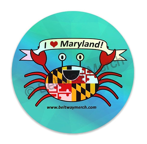"""I ❤️ Maryland"" Happy Maryland Flag Crab Holographic Sticker"