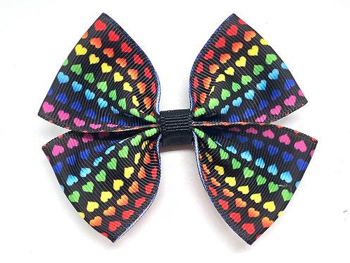 Tiny Rainbow Hearts Dog Bow Tie