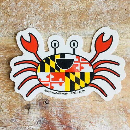 Small Happy Maryland Flag Crab Sticker