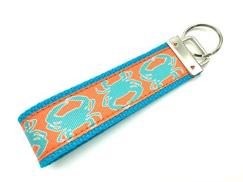 teal and orange crab key chain keyfob