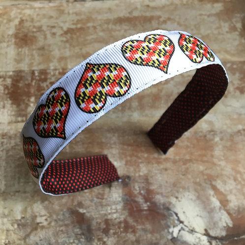 Maryland Flag Hearts Headband