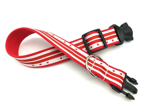 1 1/4 inch Washington DC Flag Dog Collar or Leash