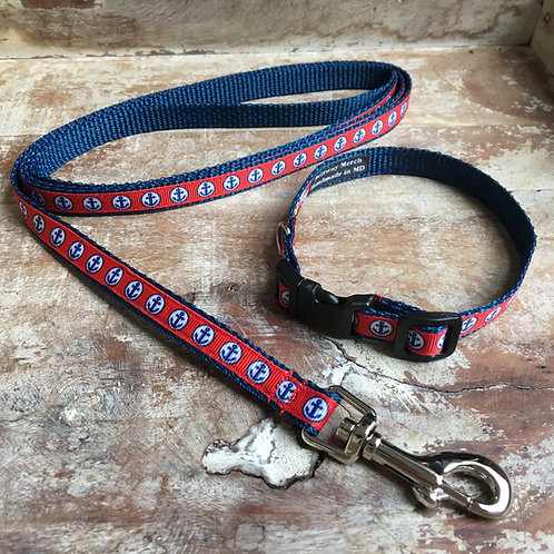 Anchor dog collar & leash set