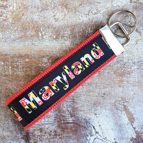 Maryland Flag key chain spelling lettering
