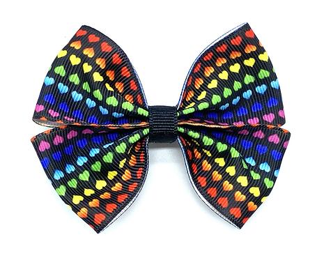 Tiny Rainbow Hearts Hair Bow