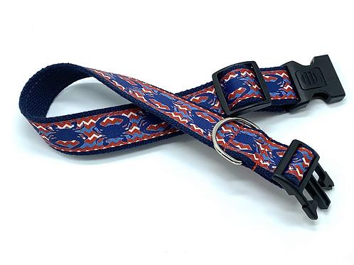 1 1/4 inch Navy Crab Chevron Dog Collar or Leash
