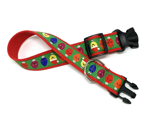 "1 1/4"" Christmas Lights Dog Collar or Leash"