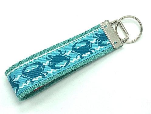 Shadow Blue Crab Chevron Key Chain